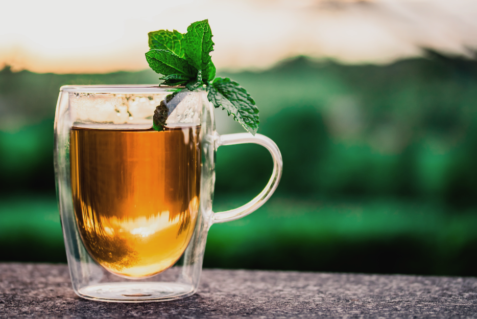 Mint tea against a green background