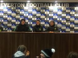 Girls U15 Everton press room.