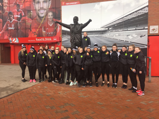 Girls U15 outside Anfield
