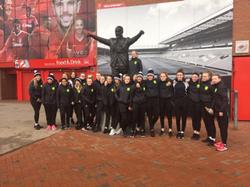 Girls U15 outside Anfield