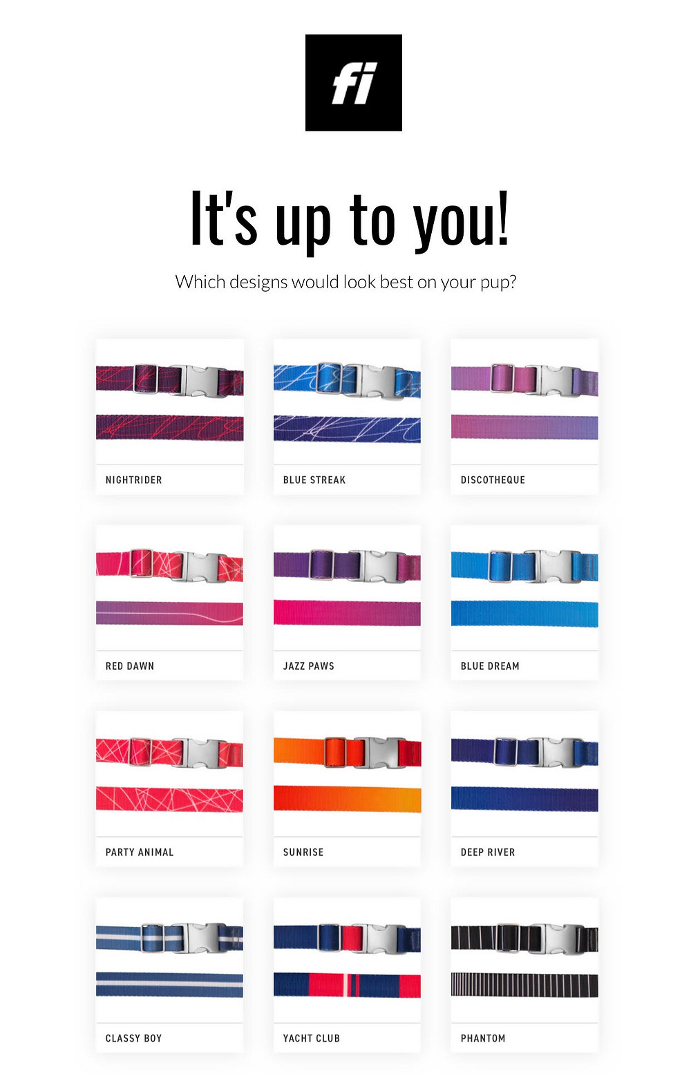Fi Smart Dog Collar Color Options