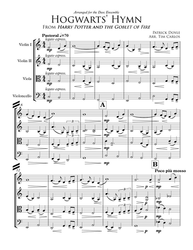 Hogwarts' Hymn for String Quartet