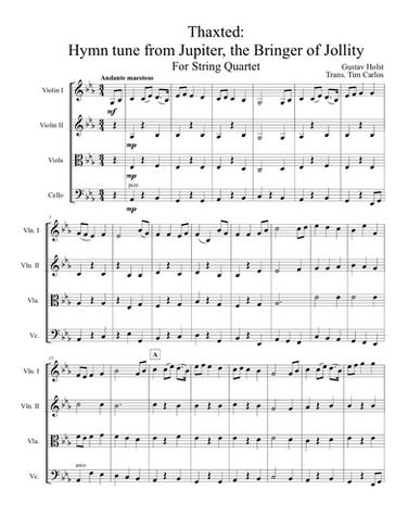 Thaxted: Hymn tune from Jupiter for String Quartet