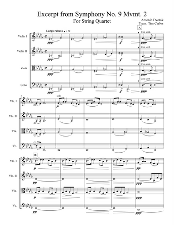 Excerpt from Dvorak Symphony No. 9 Mvmt. 2 for String Quartet
