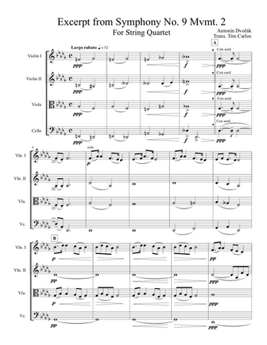 Excerpt from Dvorak Symphony No. 9 Mvmt. 2 for String Quartet