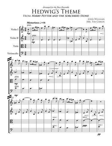 Hedwig's Theme for String Quartet