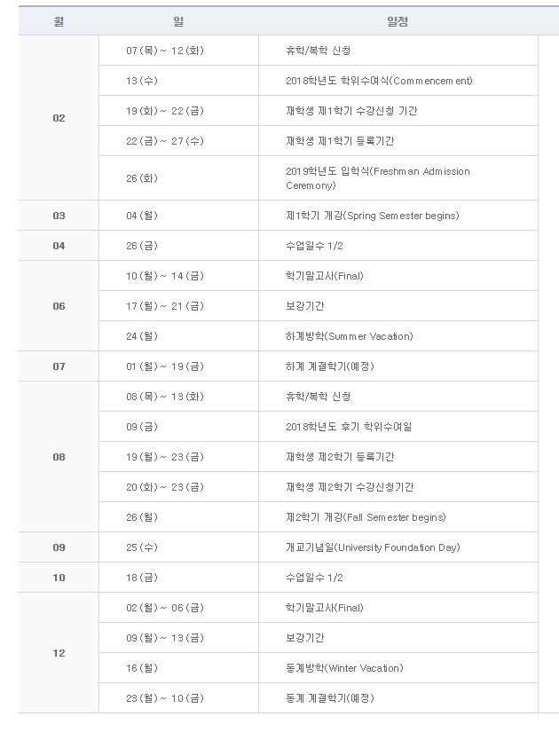 2019년 대학원 학사일정