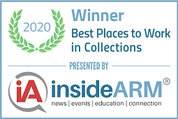 Logo indicating an award for the 2020 best places to work in Collections, presented by Inside ARM.
