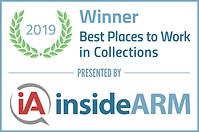 Logo indicating an award for the 2019 best places to work in Collections, presented by Inside ARM.