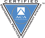 Icon indicating Professional Practices Management System certification from ACA International