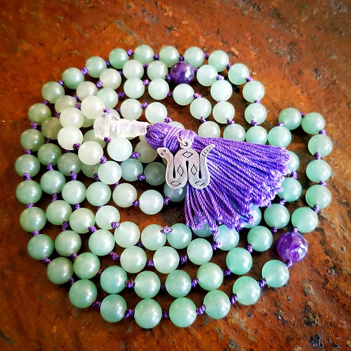 Custom Magical Mala: Aventurine and Amethyst