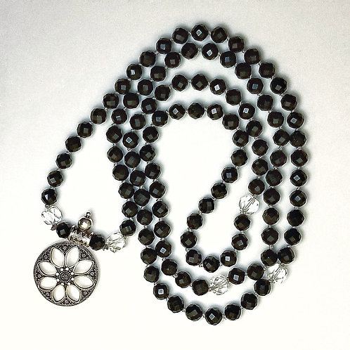 Custom Mala: Black Tourmaline and Clear Quartz