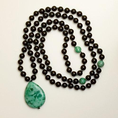 Custom Mala: Rainbow Obsidian and Crazy Lace Agate