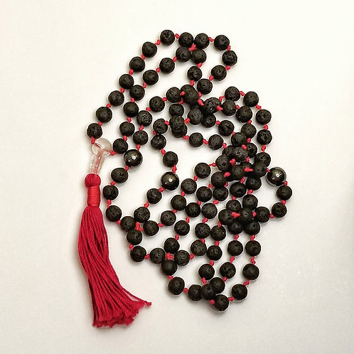 Custom Mala: Lava and Hematite