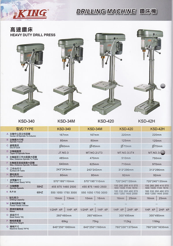 King Drill Specification Brochure