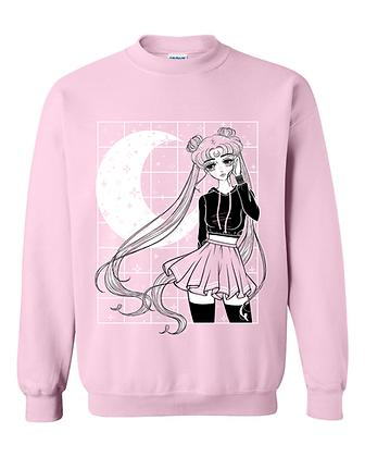 Aesthetic Moon Bun Crew Pullover - Pink