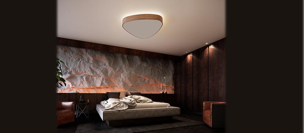 Trojuholnikovy svetelny strop LED osvetlenie odsadeny s nepriamym svetenim do stropu ambient svetlo do spalne