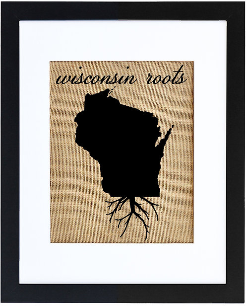 Wisconsin Roots Burlap Wall Art in a Black Frame