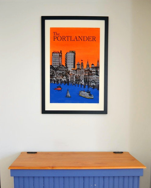 Hand-Painted Portland, Maine Skyline Wall Art