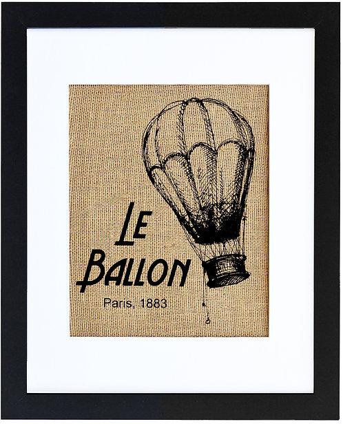 Le Ballon, Hot air balloon burlap wall art in a black frame