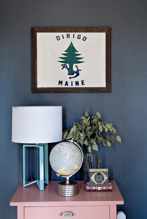 Maine Dirigo Flag Burlap Wall Art