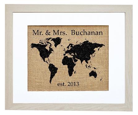 Custom World Map Monogram Wedding Gift Burlap Wall Art in an Ivory Frame