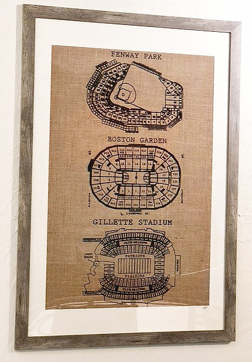 Hand-printed Burlap Wall Art Displaying Fenway Park, Td Garden and Gillette Stadium City of Champions art