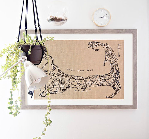 Vintage Cape Cod Map Wall Art in a Grey Distressed Frame