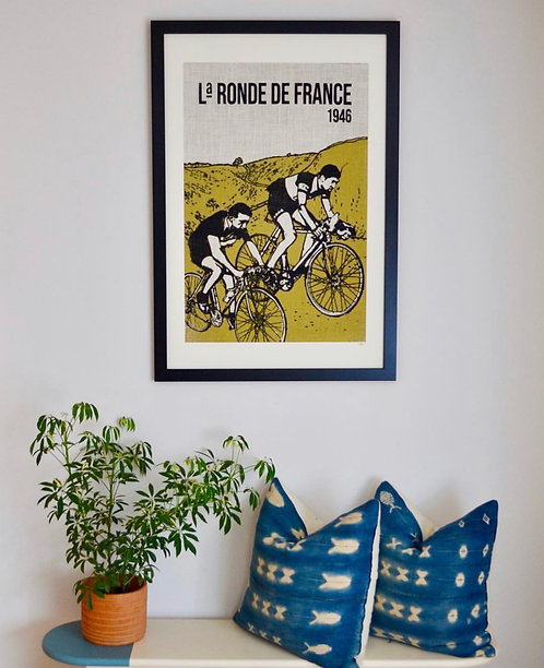 Cycling Race Burlap Wall Art featuring Giulio Bresci in a black frame