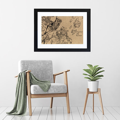 Portland, Maine Map hand printed burlap wall art in living room