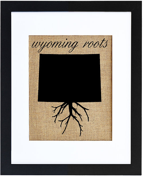Wyoming Roots Burlap Wall Art in a Black Frame