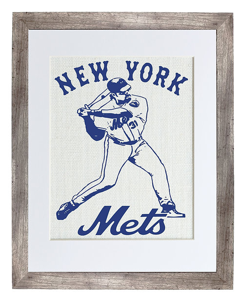 Mike Piazza of the New York Mets Baseball Wall Art in a Distressed Grey