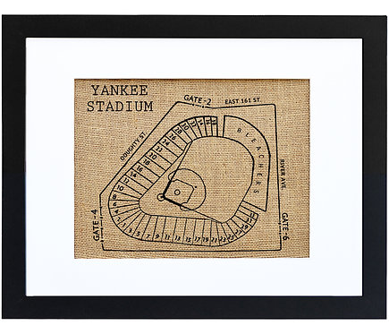 New York Yankee Stadium, Sports Fan Burlap Wall Art in a Black Frame