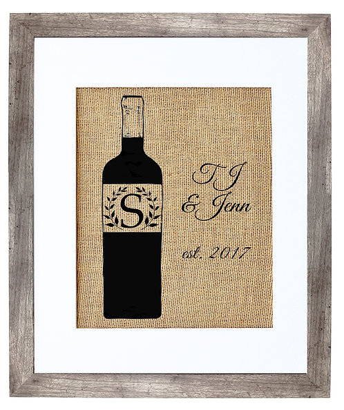 Custom Wine Bottle Monogram Wedding Gift Burlap Wall Art in a Distressed Grey Frame