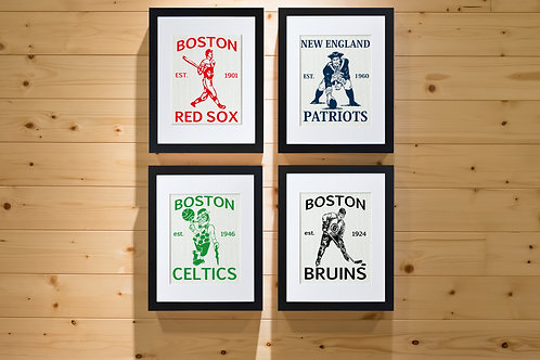 Collage wall art featuring New England Patriots, Boston Red Sox, Boston Bruins and Boston Celtics