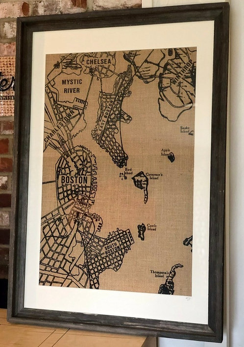 Vintage Boston Map Wall Art in Distressed Frame