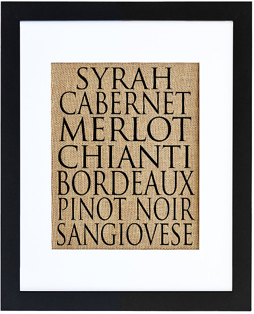 Wine Varietals Burlap Wall Art in a Black Frame