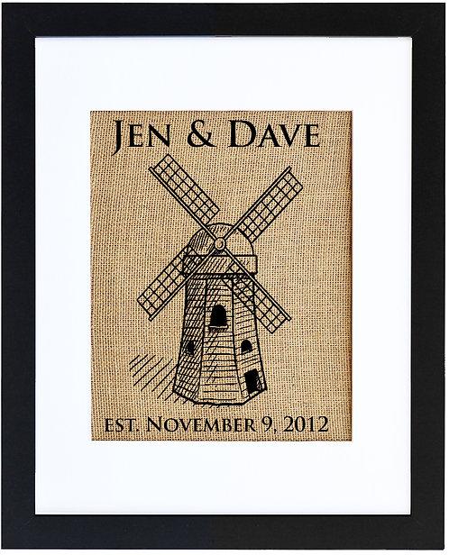 Customizable Windmill Wall Art Monogram in a black frame