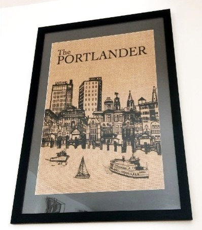 Portland Skyline Wall Art on Natural Burlap in a Black Frame