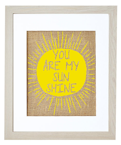 You Are my Sunshine Inspirational Burlap Wall Art in an Ivory Frame