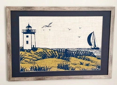 Cape Cod Sand Dunes and Lighthouse Nautical Wall Art in Grey Frame