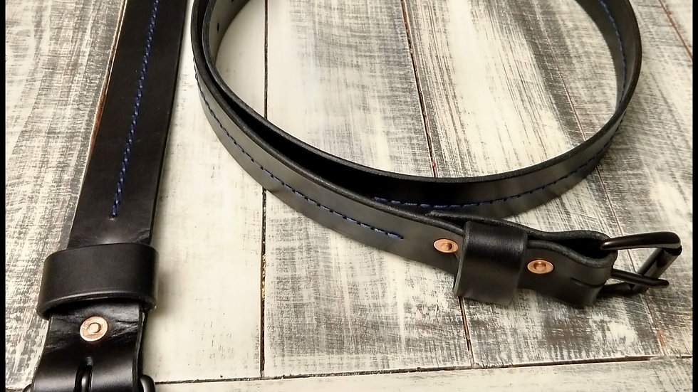 "Thin Line Leather Belt 1.5"" Wide with Buckle"