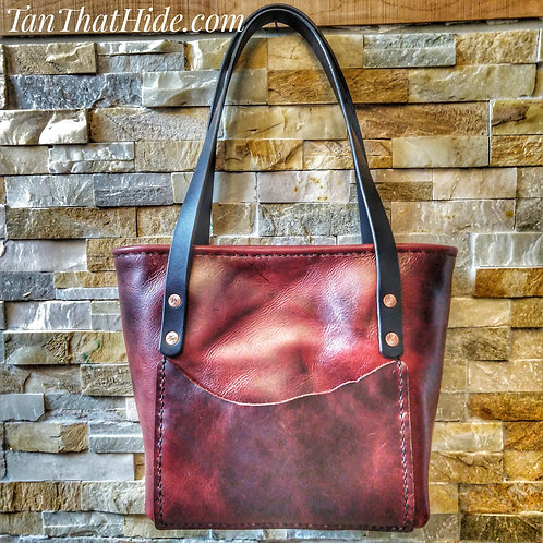 Tote Purse, Pull up Leather with Roll Top Design