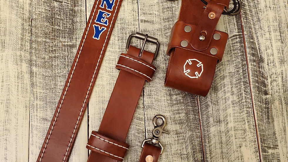 SADDLE TAN Radio Strap Set