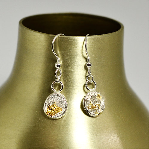 Silver Hook Earrings with Gold Foil