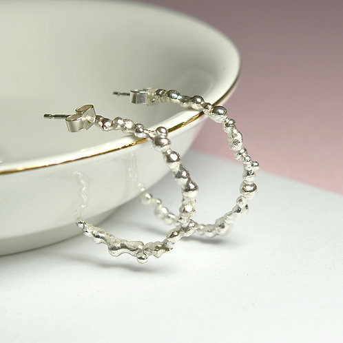 Handmade Silver Pebble Hoop Earrings