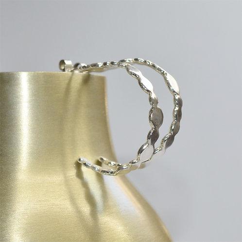 Handmade Irregular Silver Hoop Earrings