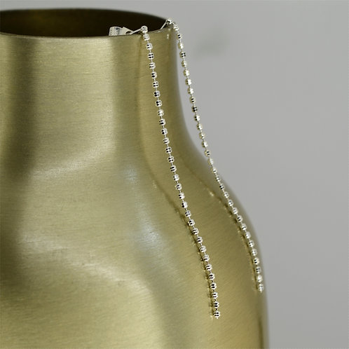 Long Shiny Silver Drop Earring