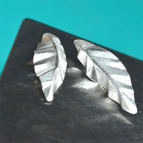 Handmade Textured Silver Leaf Earrings