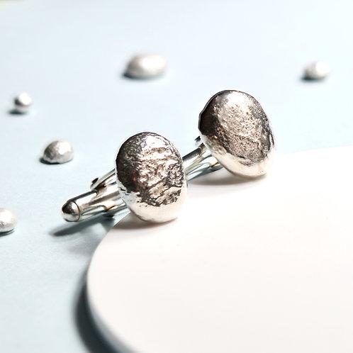 Handmade Solid Silver Pebble Cufflinks